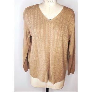 Talbots tan v neck cable knit sweater